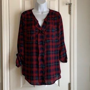 Skies are Blue plaid ruffle front blouse